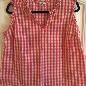 Pink and white gingham top